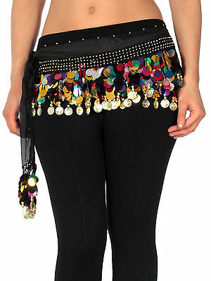 New 88 Coins Mixed-color Belly Dance Dancing Costume Hip Scarf Wrap Belt Skirt
