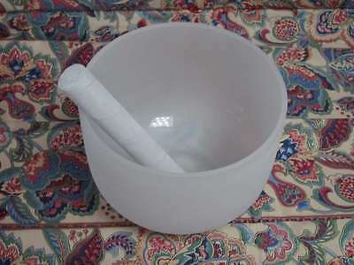 New Frosted Quartz Crystal Singing Bowl 7'' C Note Root Chakra