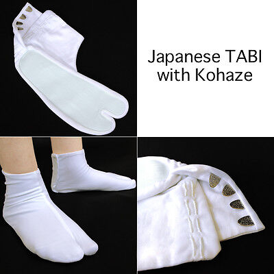 Japanese Traditional TABI Socks Kimono with Kohaze White from JAPAN