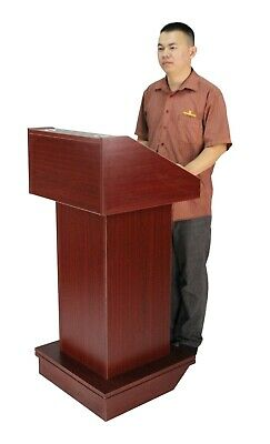 Podium with Wheels, Convertible Design for Floor or Tabletop-Red Mahogany 119727