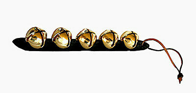 Amish Made Leather Strap & 5 Large Brass Sleigh Bells  Great Holiday Decoration
