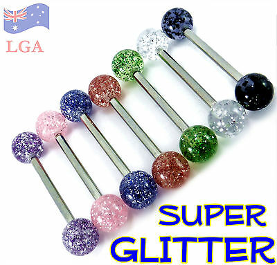 1pc New Stainless Steel Acrylic Ball Tongue Bar Barbell Body Piercing Jewellery