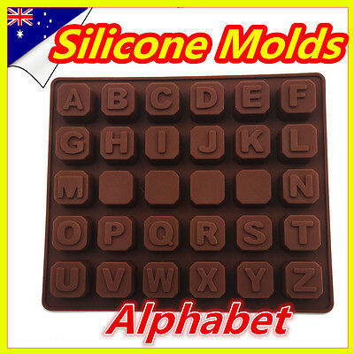 Alphabet Chocolate Molds Letters Ice Cube Tray Cake Soap Silicone Moulds Pop Out