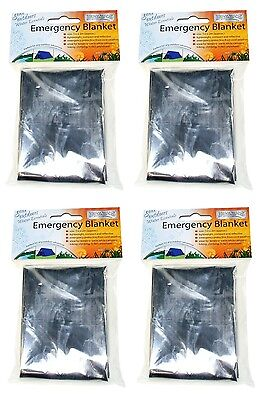 4x Compact Medical Emergency Foil Blanket Silver Aluminum Survival Blanket Sheet