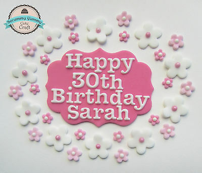 Happy Birthday Plaque set cake topper sugar decoration edible name age flowers