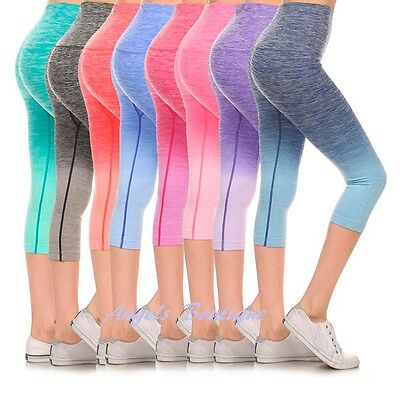 4cf6c3047475ce Women Ombre Capri Cropped Leggings Yoga Pants for Gym Fitness Workout Wear  S M L