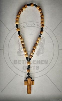OLIVE WOOD rosary BLACK rope ANGLICAN prayer BETHLEHEM HOLY LAND