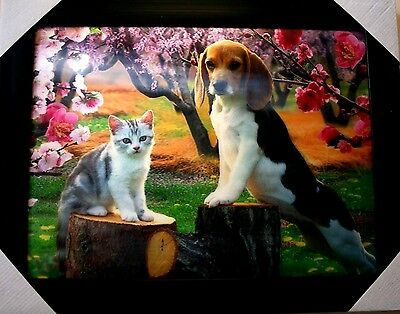 """New 3D Picture With frame Poppy and Cat  18""""x 14"""""""