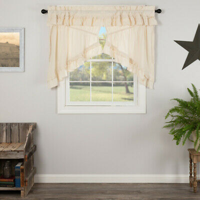 Burlap Natural with Burgundy STAR SCALLOPED PRAIRIE SWAG LINED SET Country Lodge