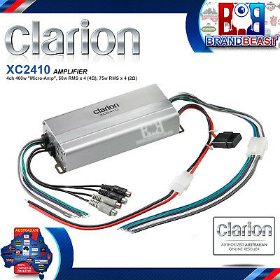 New Clarion Xc2410 300rms 4 Channel 2 Ohm Stable Micro Marine Boat Amplifier Amp