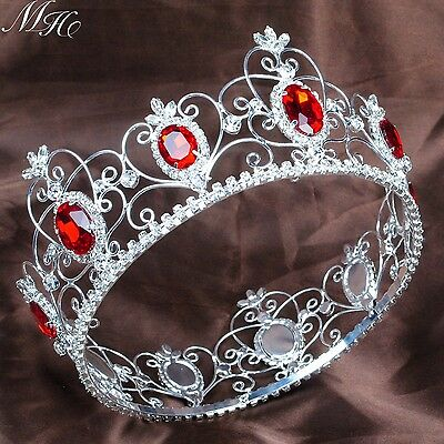"3.5"" Full Round Tiara Diadem Red Simulated Ruby Crown Pageant Wedding Party Prom"