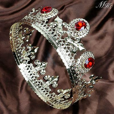"""Noble Red Ruby Tiaras 3.5"""" Imperidal Medieval Crowns Crystal Gold Pageant Party"""