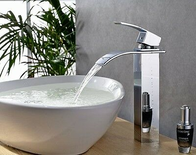 NEW Tall Square Brass Bathroom Basin Waterfall Mixer Faucet Sink Tap