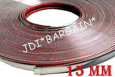 15mm x 1M Chrome Moulding Trim Car Van Protect Adhesive Strip Styling Decoration