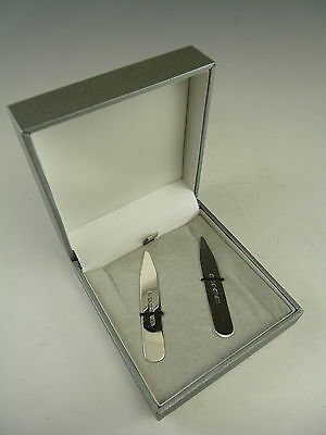 NEW - Sterling Silver Shirt COLLAR STIFFENERS - For Engraving - Boxed