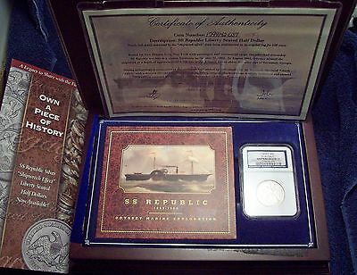 1858 O SILVER Half Dollar NGC SHIPWRECK EFFECT SS Republic WOOD CASE , DVD , COA