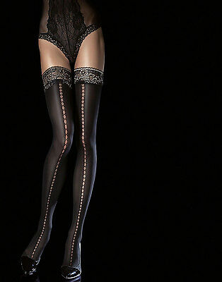 Bas fantaisie Noirs autofixant hold-up Femme-sexy fiore Sade 40 den T2 T3 T4