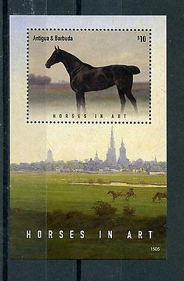 Antigua & Barbuda 2015 MNH Horses in Art 1v S/S II Paintings