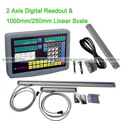 2 Axis Digital Readout+2 TTL Linear Scale CNC DRO Complete Kit for Milling