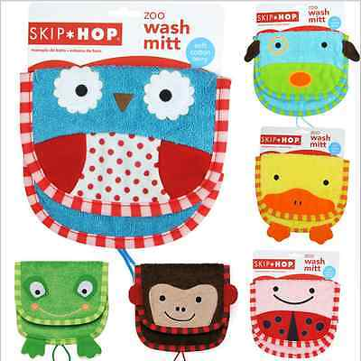 Newborn Baby Kids Zoo Animal cartoon Wash Mit Glove Bath Puppet washcloth towel