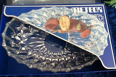 Vintage crystal cut glass bowl W Germany METEOR 20CM serving dish still boxed ec