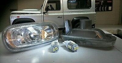 Land Rover Defender 2 Crystal Clear LED Wing Repeater Indicator Lights XGB000030