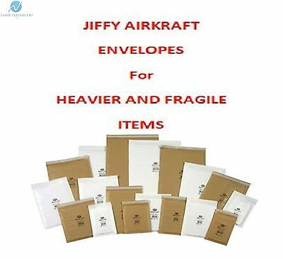 Genuine Jiffy Padded Bubble Wrap Lined Envelope Postal Bags Sizes White & Gold