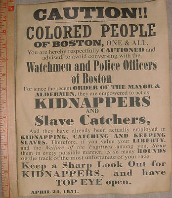 BIG 11 x 14 Caution Colored People of Boston Warning Poster, slave, slavery