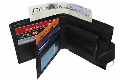 MENS GENUINE REAL SOFT LEATHER WALLET With LARGE Zip Coin Pocket / Pouch Design1