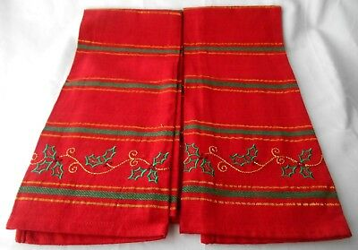 "2 Christmas Red Embroidery Cotton Kitchen Towels 28"" x 17 1/2"" NEW"