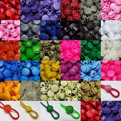 29 COLOUR Spring Toggle 3 4mm Cord Rope Elastic Bag Coat Flat 2 HOLE BUY 2 4 8+