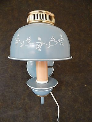 Lovely Vintage Country Blue w/ White Trim Toleware Wall Light Sconce