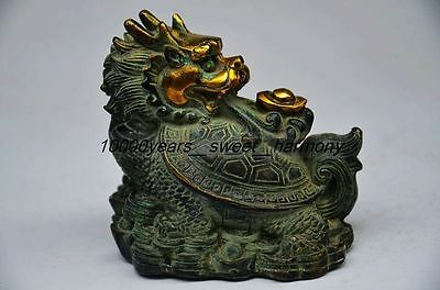 Vintage Bronze Gilt Carved Dragon Turtle Statue