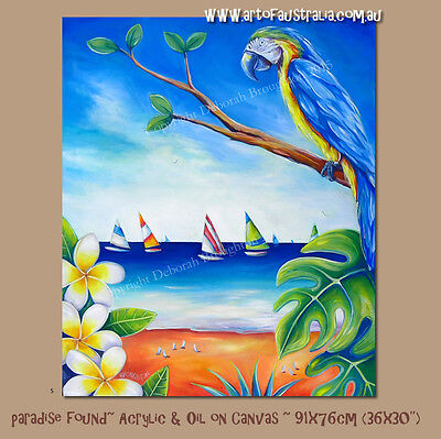 DEBORAH BROUGHTON ART Original Oil Painting Tropic Beach Frangipani - reduced!