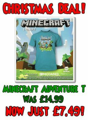 Minecraft T-shirt Mine Craft Tshirt Official ADVENTURE LOGO | Youth | TURQUOISE