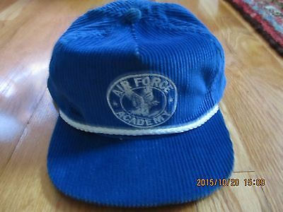 Vintage Made In Usa Air Force Academy Blue Corduroy Cap Hat Leather Adjustable