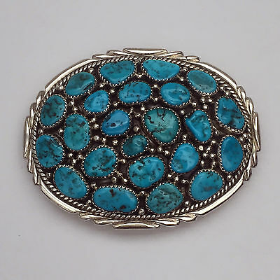 Sterling Silver Navajo Handmade Turquoise Cluster Oval Round Belt Buckle
