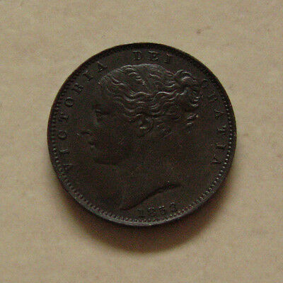 COPPER FARTHING 1853 COIN QUEEN VICTORIA UNBARRED As iIN BRITANNIA EF GRADE
