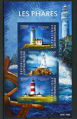 Central African Republic 2015 MNH Lighthouses 3v M/S Happisburgh Corbiere