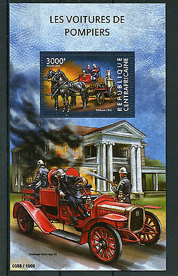 Central African Republic 2015 MNH Fire Engines 1v S/S Beduwe Delahaye-Tarcot