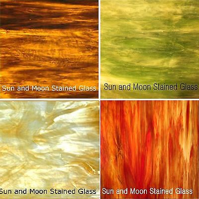 """Wissmach Stained Glass Sheet Pack - Autumn Flavor 4 Sheets of 8X10"""""""
