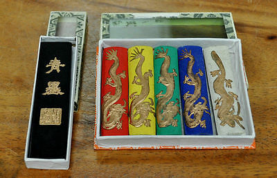 Calligraphy Painting Ink Stick Asia Old 5 Colors 1 Black Dragon Chinese Solid