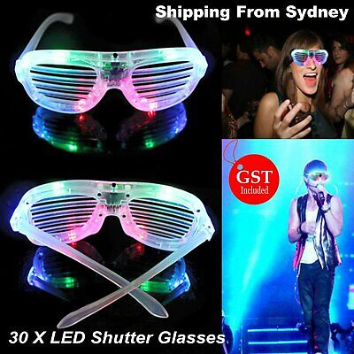 30pcs LED Glasses Flashing RockStar Shutter Shades Sunglasses Glow in the dark