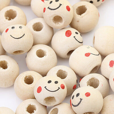 40pcs Wooden Smile Face Spacer Beads Round Ball DIY Craft Accessory 3mm Hole