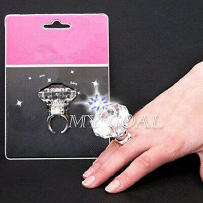 HEN Party Night LED Light Up Large Flashing Diamond Ring Assorted Color Fun Glow