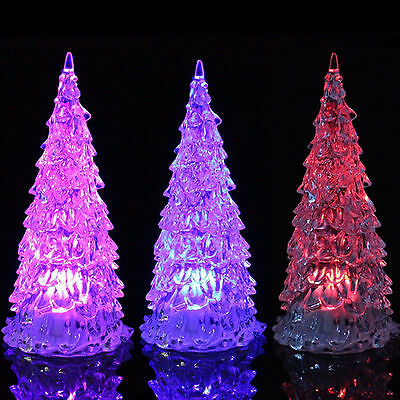 10x LED Crystal Christmas Tree Colour Changing Light up Party Wedding Glow