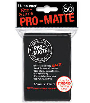 50 Count Black Ultra Pro Matte Deck Protector Card Sleeves Non-Glare Pokemon MTG