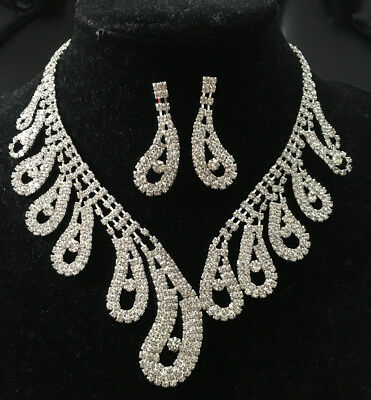 Clear Diamante Crystal Necklace And Earring Set Bridal Wedding Prom Jewelry