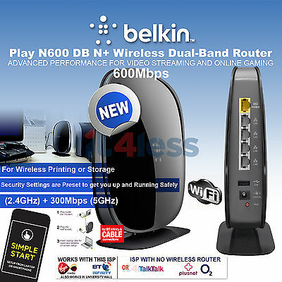 Belkin Wireless N600 Dualband Router DSL Cable Line / Fiber Conection 600Mbps UK