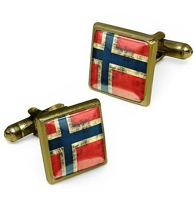 Antique Bronze Norway Scandinavian Cross Norwegian Flag Glass Cufflink Set w/Box